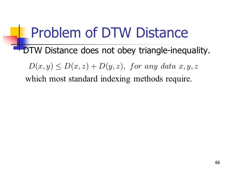 65 Dynamic Time Warping DTW Distance between two time series x,y is Equal to optimal path finding Each path (1,1) (m,n) is an alignment (i,j) represen
