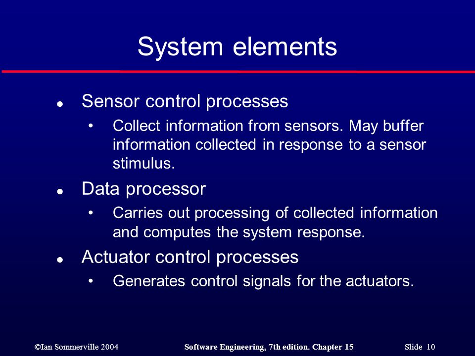 ©Ian Sommerville 2004Software Engineering, 7th edition. Chapter 15 Slide 10 System elements l Sensor control processes Collect information from sensor