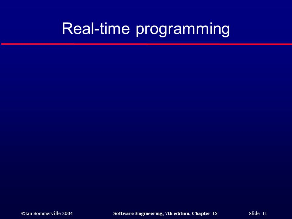 ©Ian Sommerville 2004Software Engineering, 7th edition. Chapter 15 Slide 11 Real-time programming
