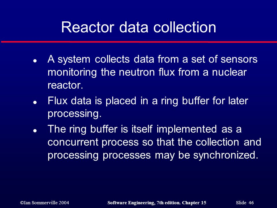 ©Ian Sommerville 2004Software Engineering, 7th edition. Chapter 15 Slide 46 Reactor data collection l A system collects data from a set of sensors mon