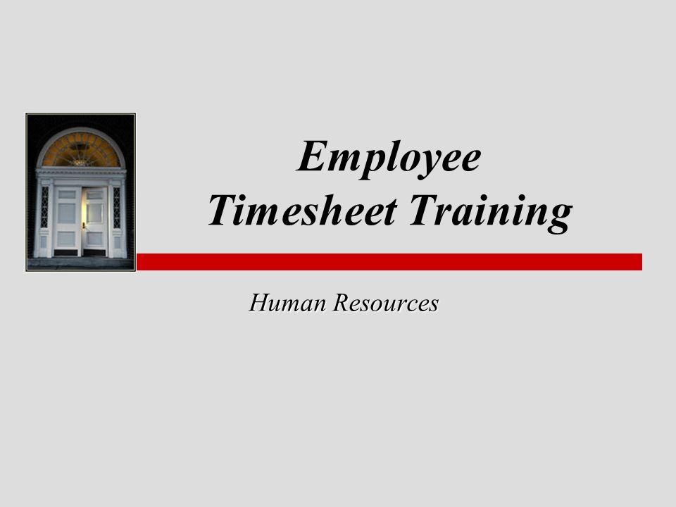 Employee Timesheet Training Human Resources