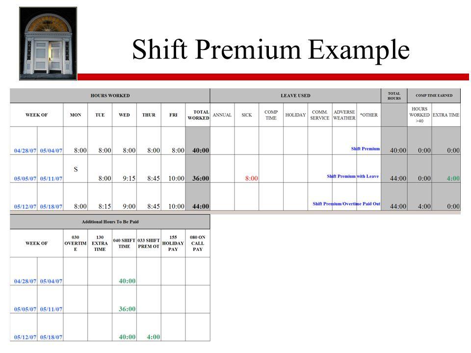 Shift Premium Example