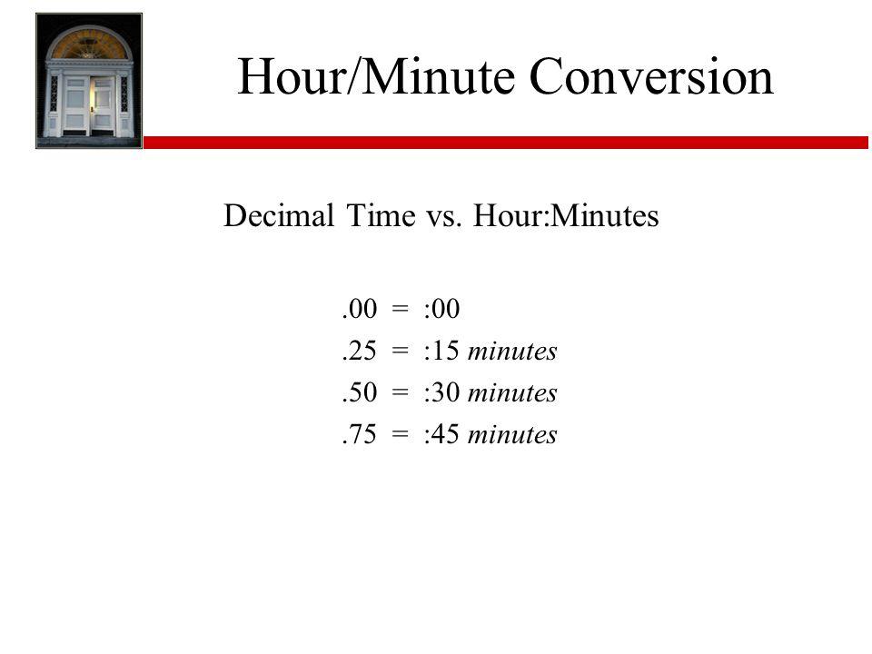 Hour/Minute Conversion Decimal Time vs. Hour:Minutes.00 = :00.25 = :15 minutes.50 = :30 minutes.75 = :45 minutes