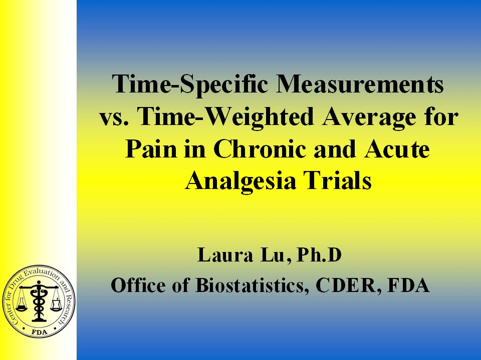 Analgesic ACM 7/29/021 Time-Specific Measurements vs.