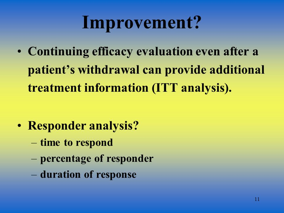 11 Improvement? Continuing efficacy evaluation even after a patients withdrawal can provide additional treatment information (ITT analysis). Responder
