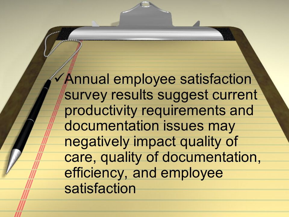 Annual employee satisfaction survey results suggest current productivity requirements and documentation issues may negatively impact quality of care, quality of documentation, efficiency, and employee satisfaction