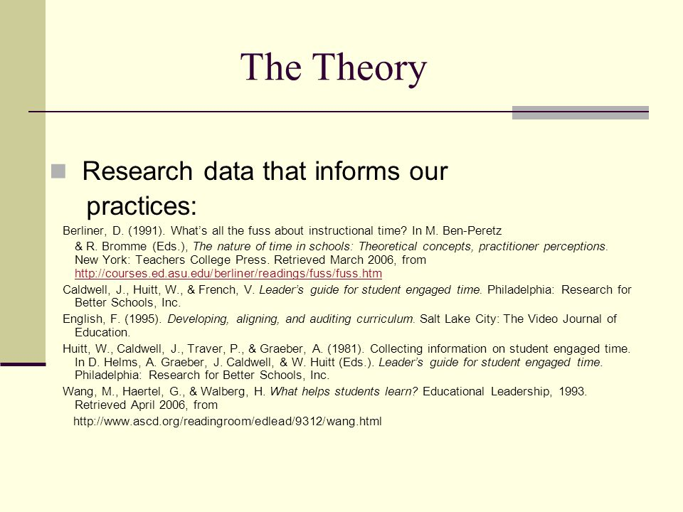 The Theory Research data that informs our practices: Berliner, D.