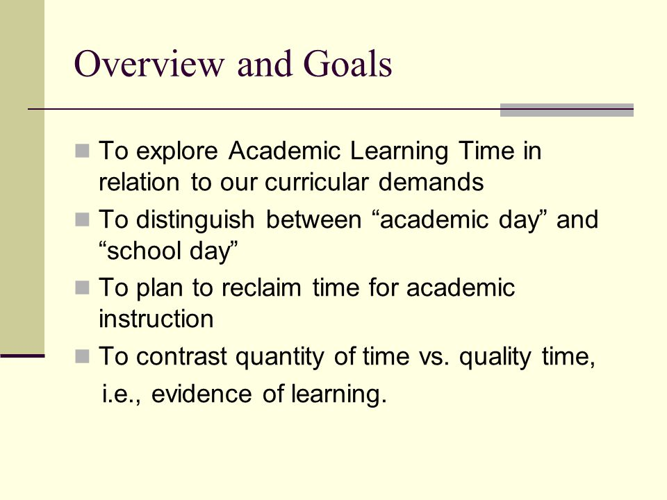 ALT is that part of allocated time in any subject-matter area in which a student is engaged successfully in the activities or with the materials to which he/she is exposed and in which those activities and materials are related to educational outcomes.