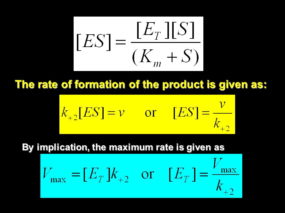 The rate of formation of the product is given as: By implication, the maximum rate is given as