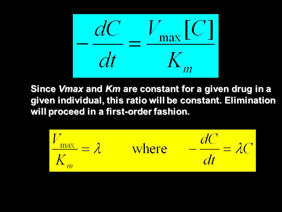 Since Vmax and Km are constant for a given drug in a given individual, this ratio will be constant.