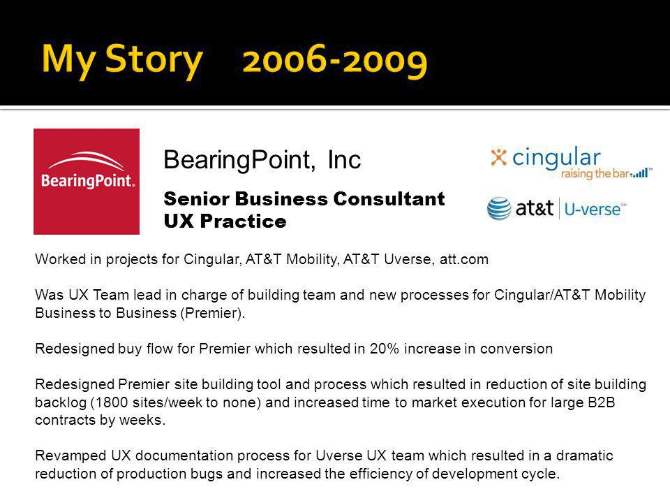 BearingPoint, Inc Senior Business Consultant UX Practice Worked in projects for Cingular, AT&T Mobility, AT&T Uverse, att.com Was UX Team lead in char