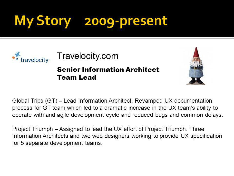 Travelocity.com Senior Information Architect Team Lead Global Trips (GT) – Lead Information Architect. Revamped UX documentation process for GT team w
