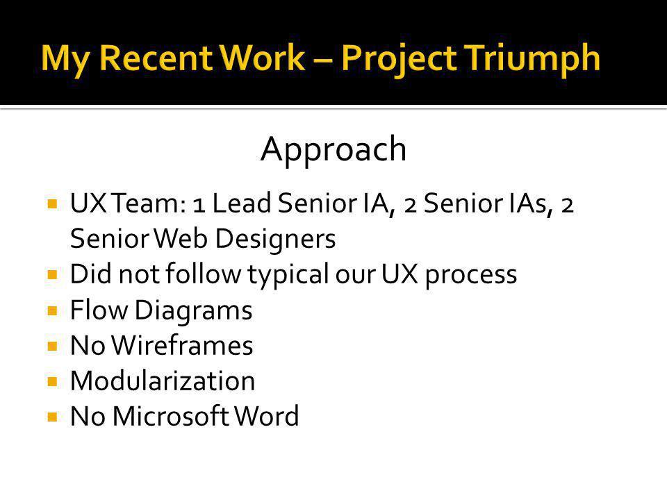 UX Team: 1 Lead Senior IA, 2 Senior IAs, 2 Senior Web Designers Did not follow typical our UX process Flow Diagrams No Wireframes Modularization No Mi