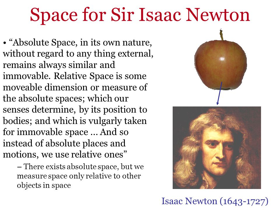 Space for Sir Isaac Newton Absolute Space, in its own nature, without regard to any thing external, remains always similar and immovable. Relative Spa
