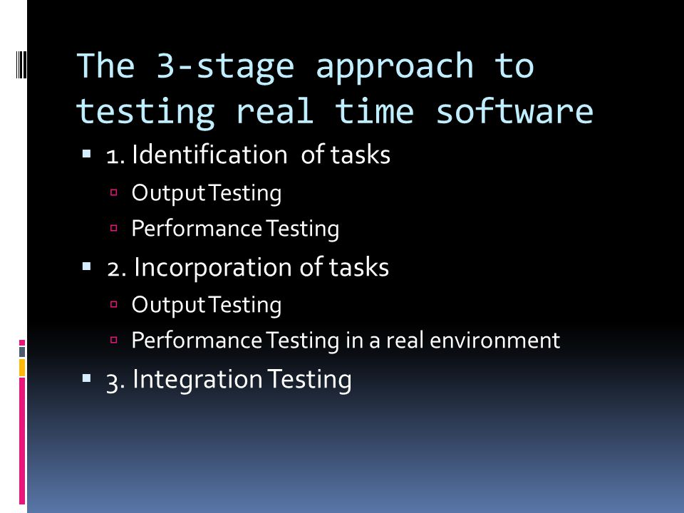 Difficulties with testing Real-time software It is difficult to test a system that is running in real time due to factors such as: Time constraints Conventional methods are not applicable for real- time software This can lead to… Unpredictable outcomes
