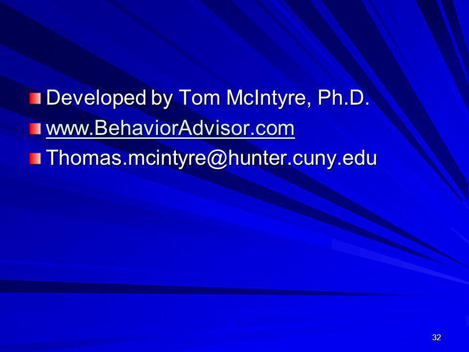 32 Developed by Tom McIntyre, Ph.D. www.BehaviorAdvisor.com Thomas.mcintyre@hunter.cuny.edu