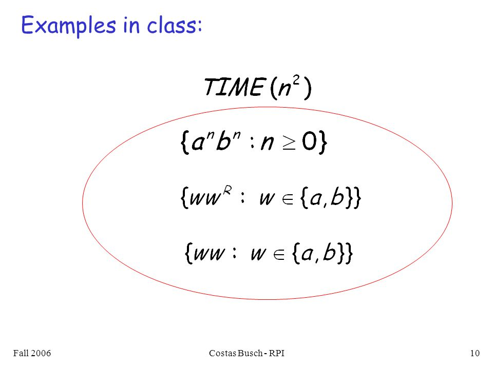 Fall 2006Costas Busch - RPI10 Examples in class: