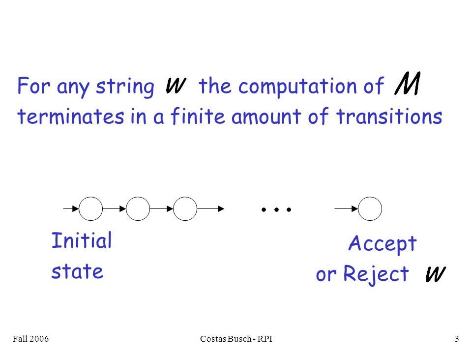 Fall 2006Costas Busch - RPI3 For any string the computation of terminates in a finite amount of transitions Accept or Reject Initial state