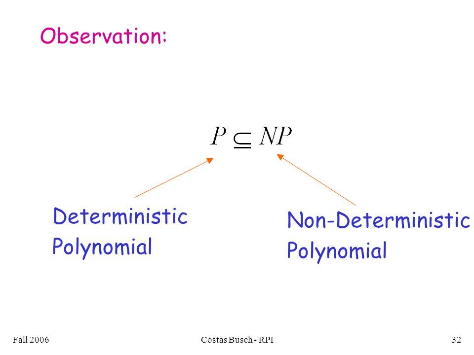 Fall 2006Costas Busch - RPI32 Observation: Deterministic Polynomial Non-Deterministic Polynomial