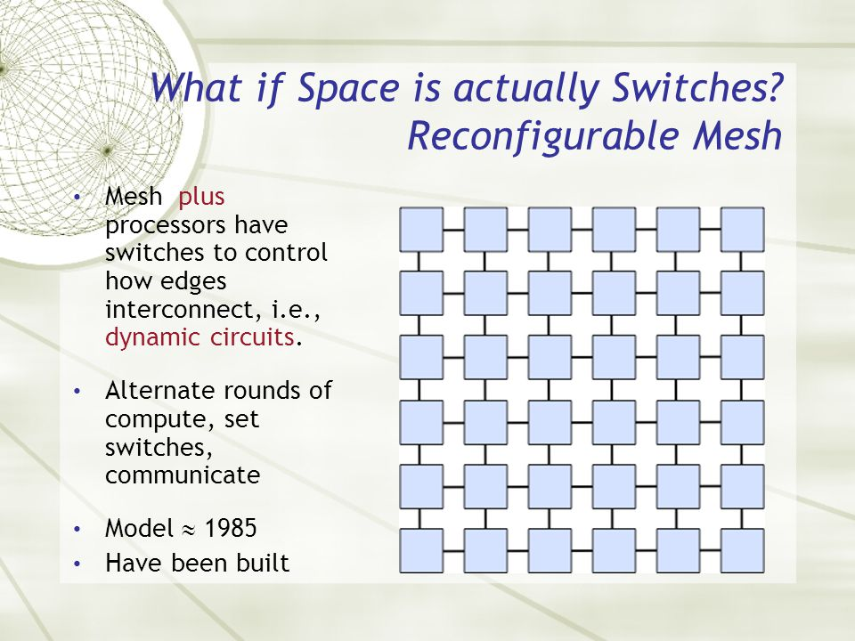 What if Space is actually Switches? Reconfigurable Mesh Mesh plus processors have switches to control how edges interconnect, i.e., dynamic circuits.