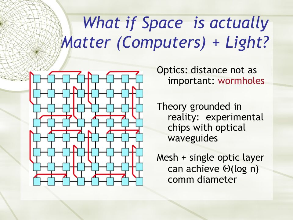 What if Space is actually Matter (Computers) + Light? Optics: distance not as important: wormholes Theory grounded in reality: experimental chips with