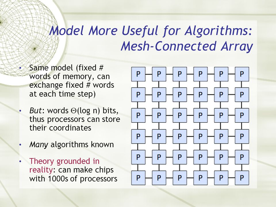 Model More Useful for Algorithms: Mesh-Connected Array Same model (fixed # words of memory, can exchange fixed # words at each time step) But: words (