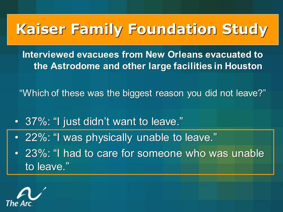Kaiser Family Foundation Study Interviewed evacuees from New Orleans evacuated to the Astrodome and other large facilities in Houston Which of these was the biggest reason you did not leave.