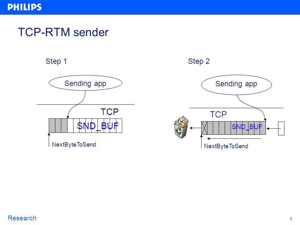 8 Research TCP-RTM sender Sending app NextByteToSend TCP SND_BUF Sending app NextByteToSend TCP SND_BUF Step 1Step 2