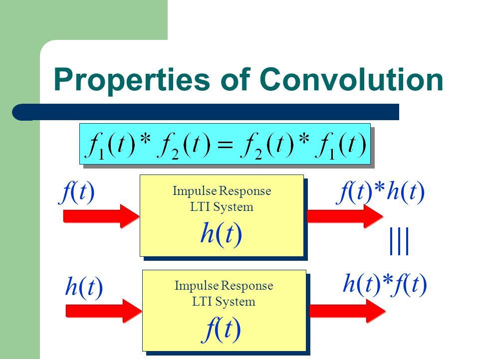 Impulse Response LTI System h(t) Impulse Response LTI System h(t) f(t)f(t)f(t)*h(t) Properties of Convolution Impulse Response LTI System f(t) Impulse