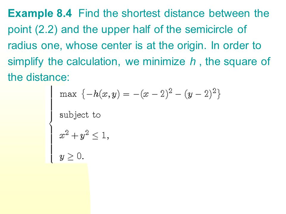 Example 8.4 Find the shortest distance between the point (2.2) and the upper half of the semicircle of radius one, whose center is at the origin.