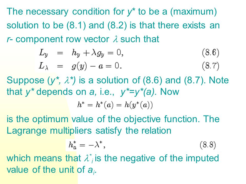 The necessary condition for y* to be a (maximum) solution to be (8.1) and (8.2) is that there exists an r- component row vector such that Suppose (y*,