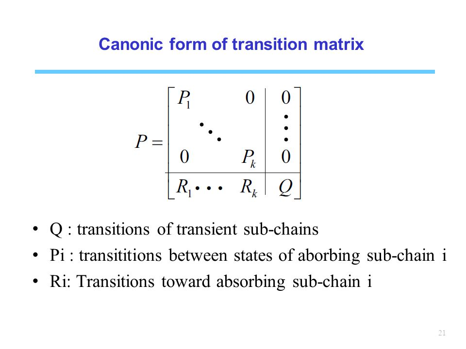 21 Canonic form of transition matrix Q : transitions of transient sub-chains Pi : transititions between states of aborbing sub-chain i Ri: Transitions toward absorbing sub-chain i