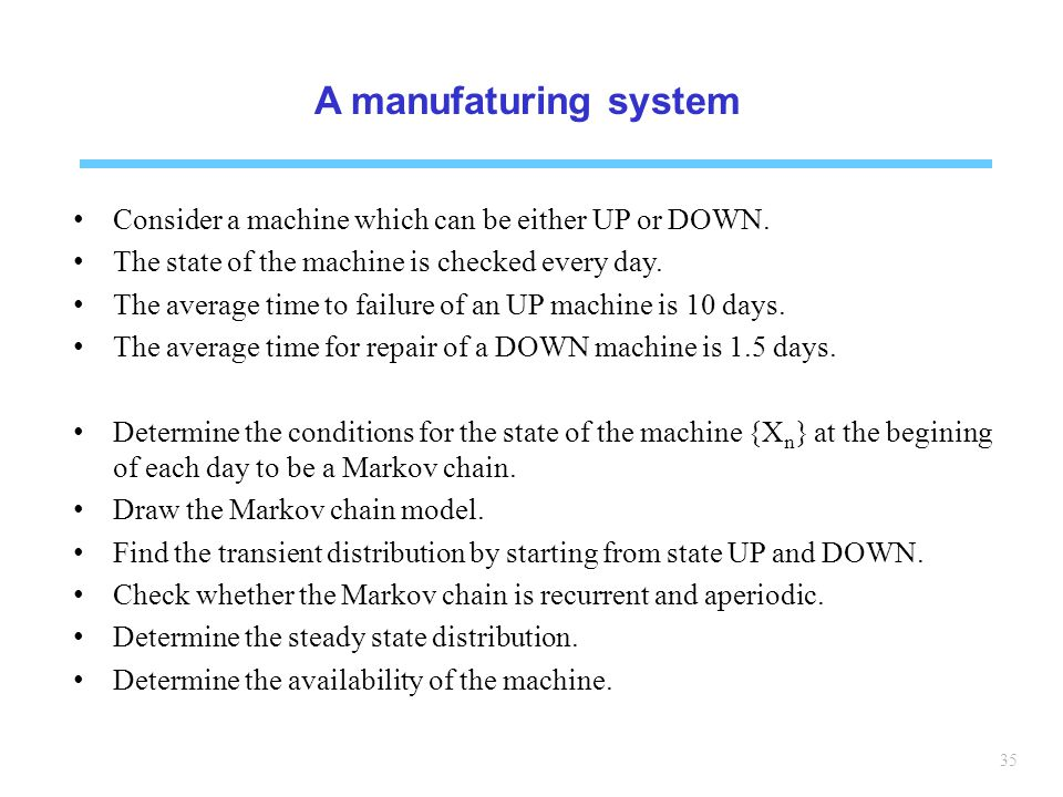 35 A manufaturing system Consider a machine which can be either UP or DOWN.