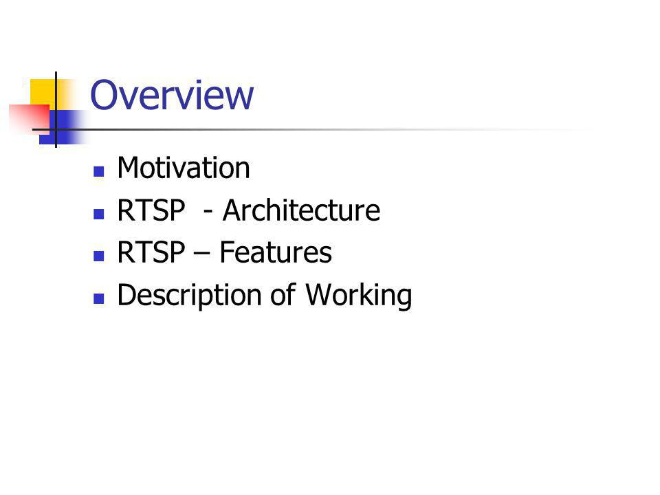Overview Motivation RTSP - Architecture RTSP – Features Description of Working