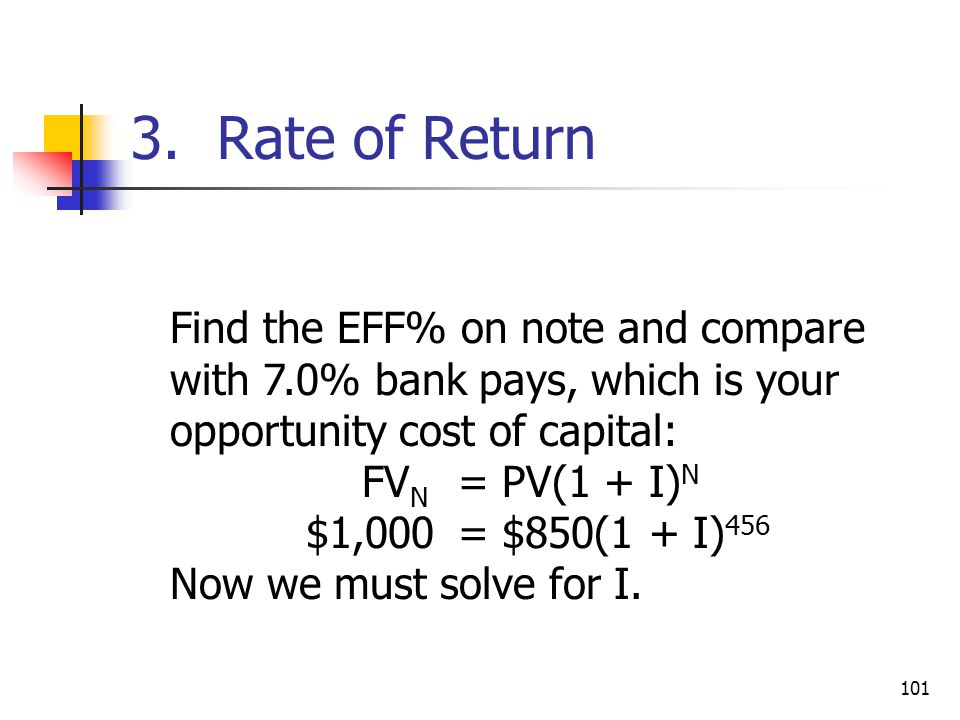 101 Find the EFF% on note and compare with 7.0% bank pays, which is your opportunity cost of capital: FV N = PV(1 + I) N $1,000= $850(1 + I) 456 Now we must solve for I.