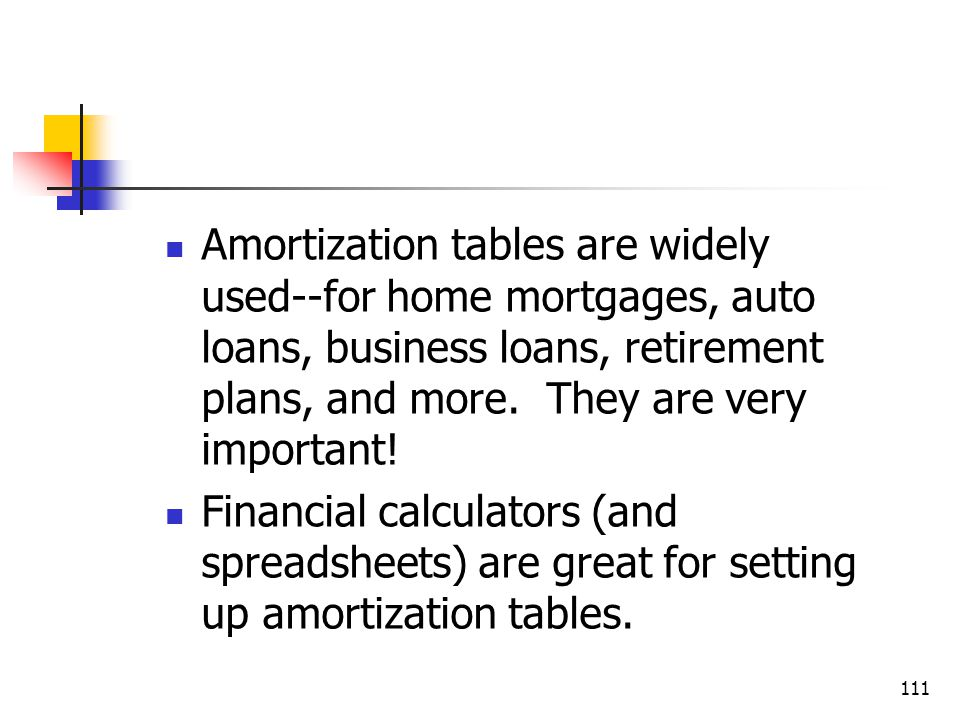 111 Amortization tables are widely used--for home mortgages, auto loans, business loans, retirement plans, and more.