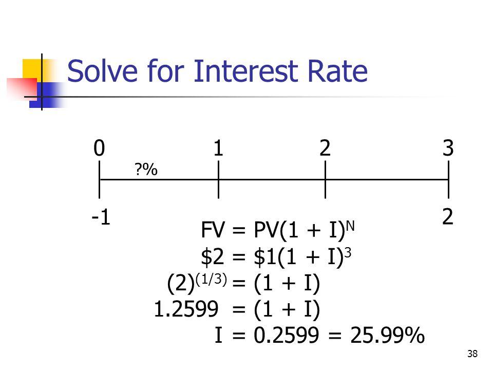 38 ?% 2 0123 FV= PV(1 + I) N $2= $1(1 + I) 3 (2) (1/3) = (1 + I) 1.2599= (1 + I) I= 0.2599 = 25.99% Solve for Interest Rate
