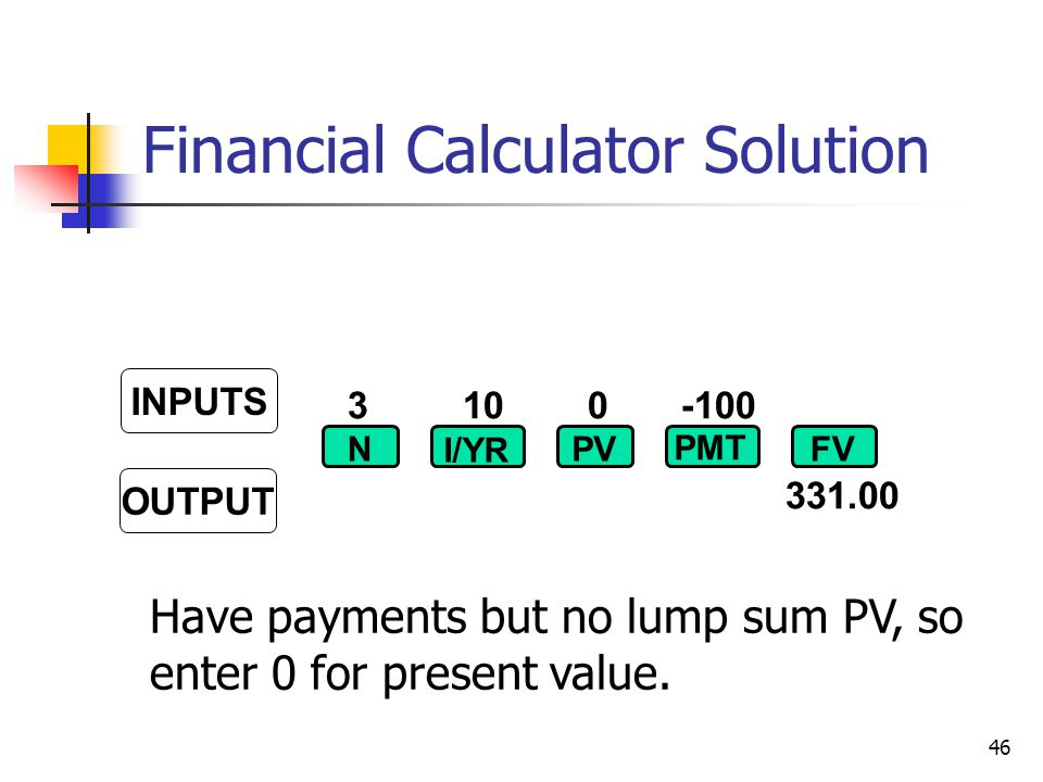 46 Have payments but no lump sum PV, so enter 0 for present value.