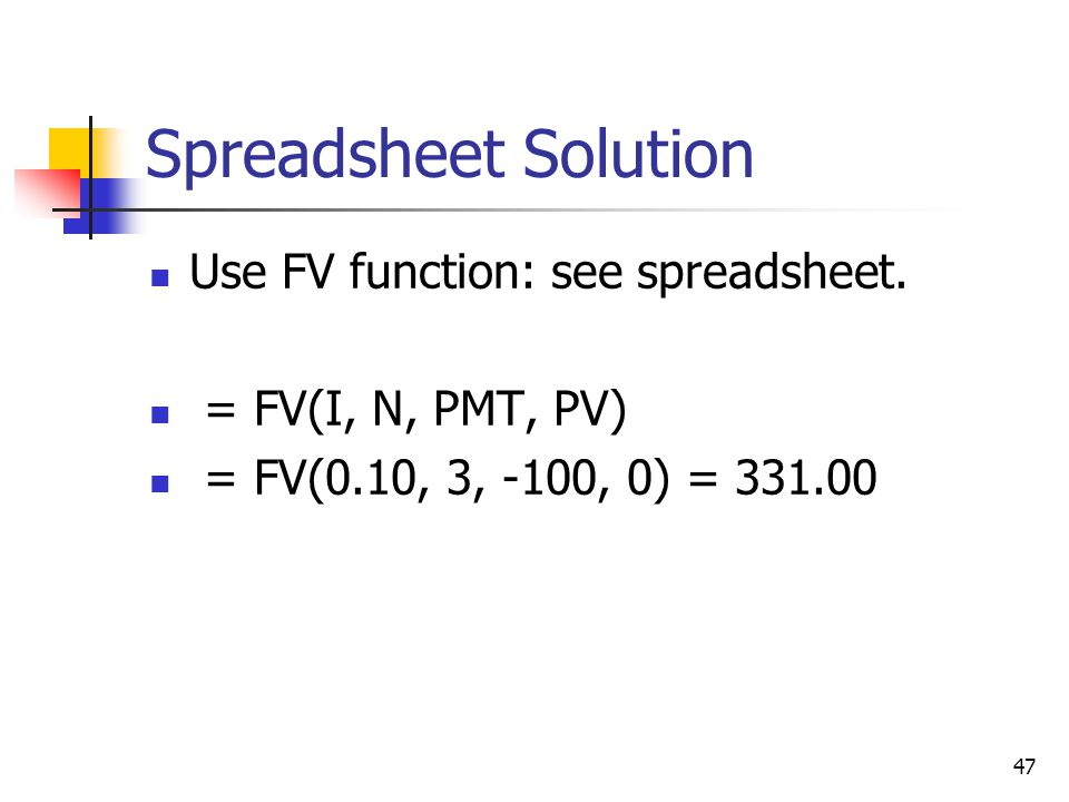 47 Spreadsheet Solution Use FV function: see spreadsheet.