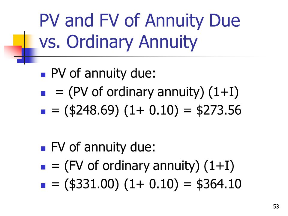 53 PV and FV of Annuity Due vs.