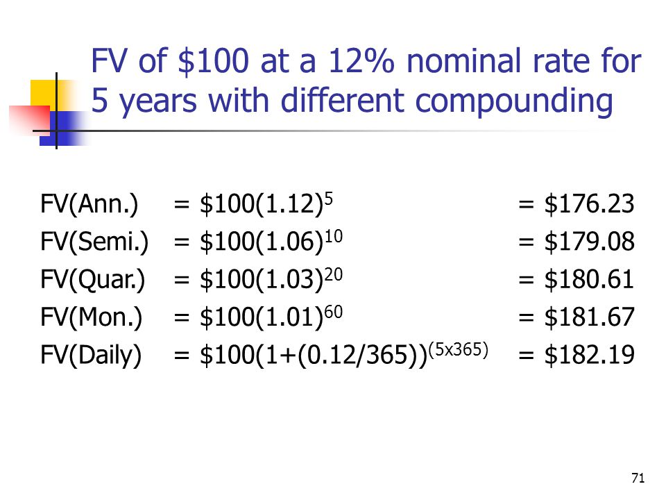 71 FV of $100 at a 12% nominal rate for 5 years with different compounding FV(Ann.)= $100(1.12) 5 = $176.23 FV(Semi.)= $100(1.06) 10 = $179.08 FV(Quar.)= $100(1.03) 20 = $180.61 FV(Mon.)= $100(1.01) 60 = $181.67 FV(Daily)= $100(1+(0.12/365)) (5x365) = $182.19