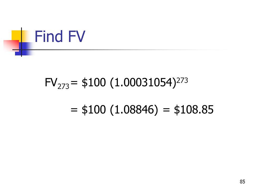 85 FV 273 = $100 (1.00031054) 273 = $100 (1.08846) = $108.85 Find FV