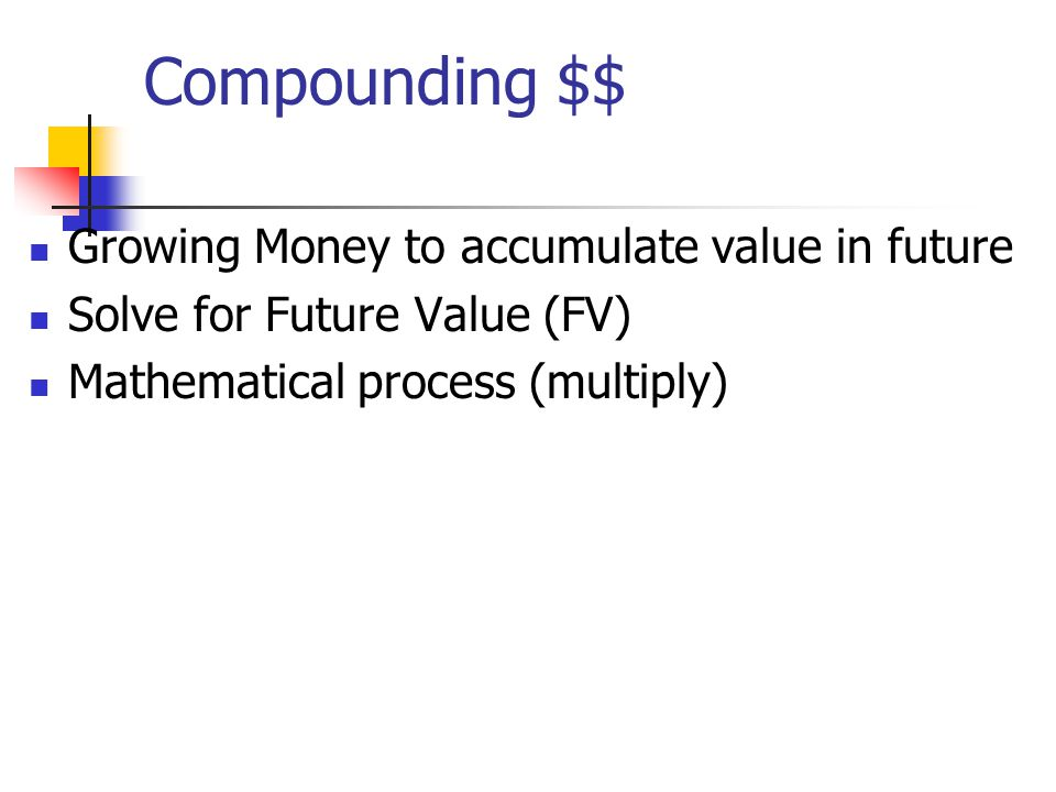 Compounding $$ Growing Money to accumulate value in future Solve for Future Value (FV) Mathematical process (multiply)