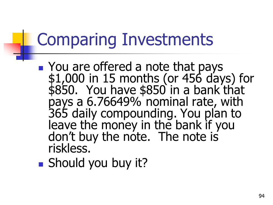 94 Comparing Investments You are offered a note that pays $1,000 in 15 months (or 456 days) for $850.