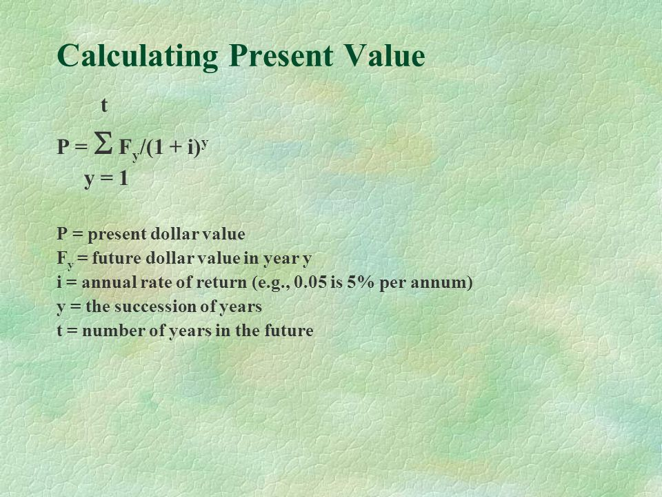 Calculating Present Value t P = F y /(1 + i) y y = 1 P = present dollar value F y = future dollar value in year y i = annual rate of return (e.g., 0.05 is 5% per annum) y = the succession of years t = number of years in the future