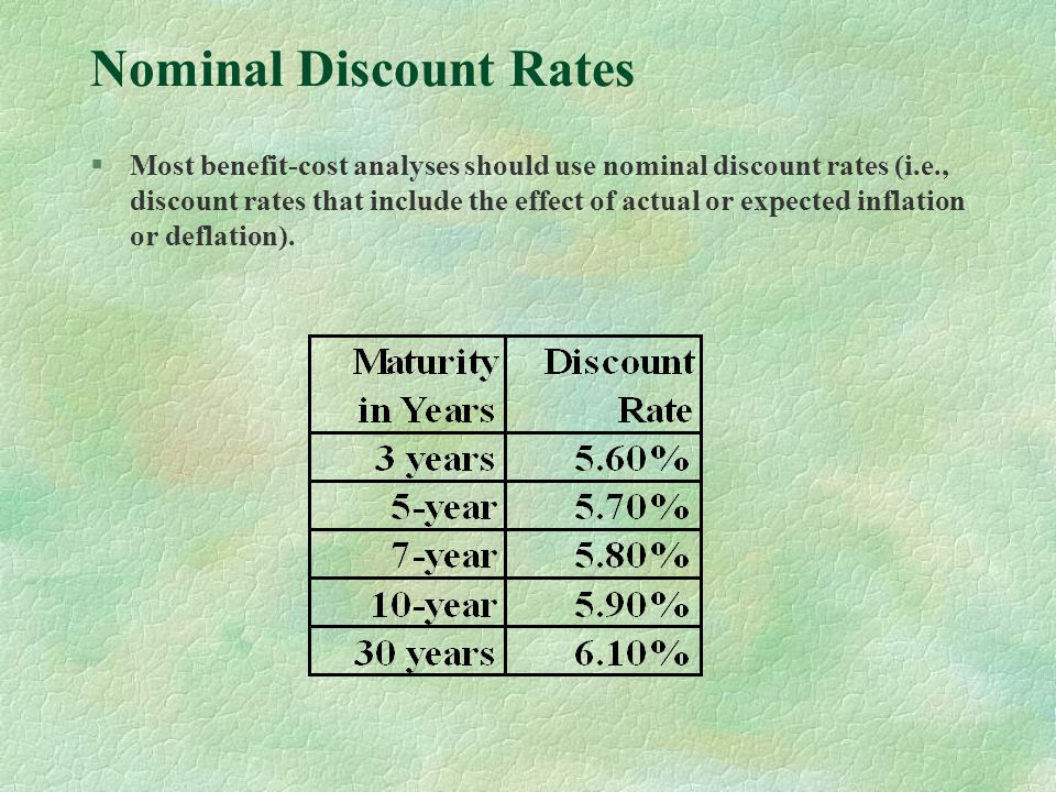Nominal Discount Rates §Most benefit-cost analyses should use nominal discount rates (i.e., discount rates that include the effect of actual or expected inflation or deflation).