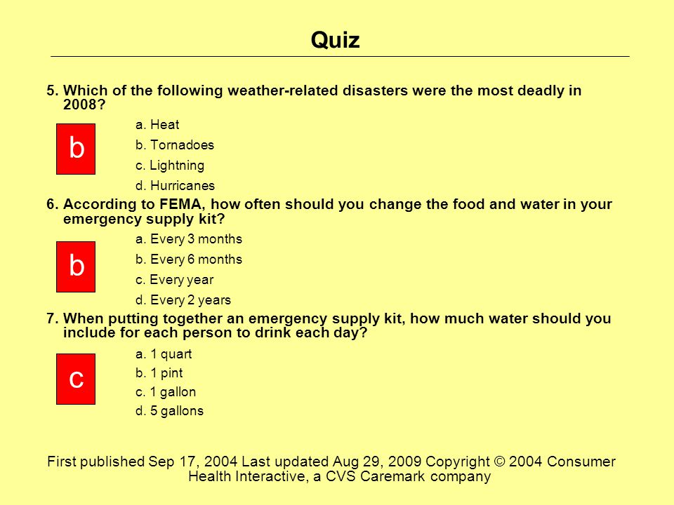 Quiz 5. Which of the following weather-related disasters were the most deadly in 2008.