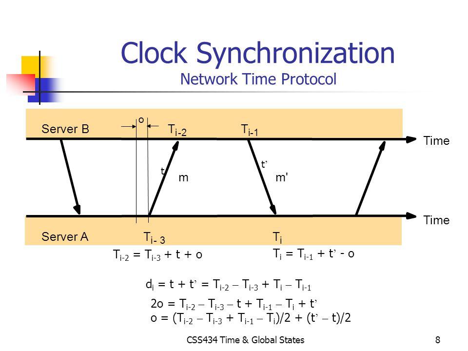 CSS434 Time & Global States8 Clock Synchronization Network Time Protocol T i T i-1 T i-2 T i-3 Server B Server A Time mm' Time t t d i = t + t = T i-2