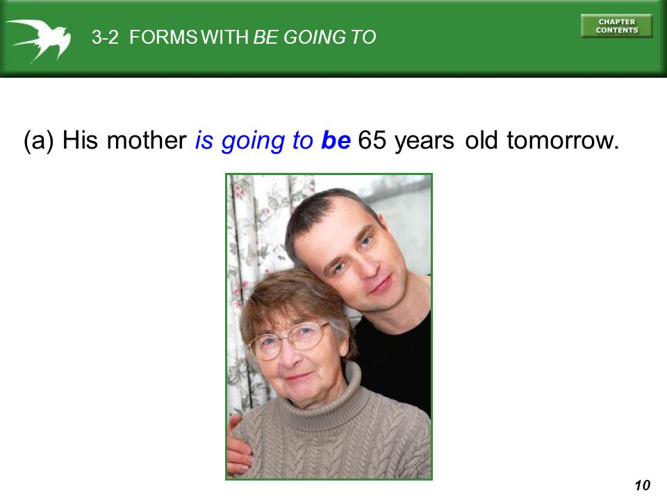 10 3-2 FORMS WITH BE GOING TO (a) His mother is going to be 65 years old tomorrow.