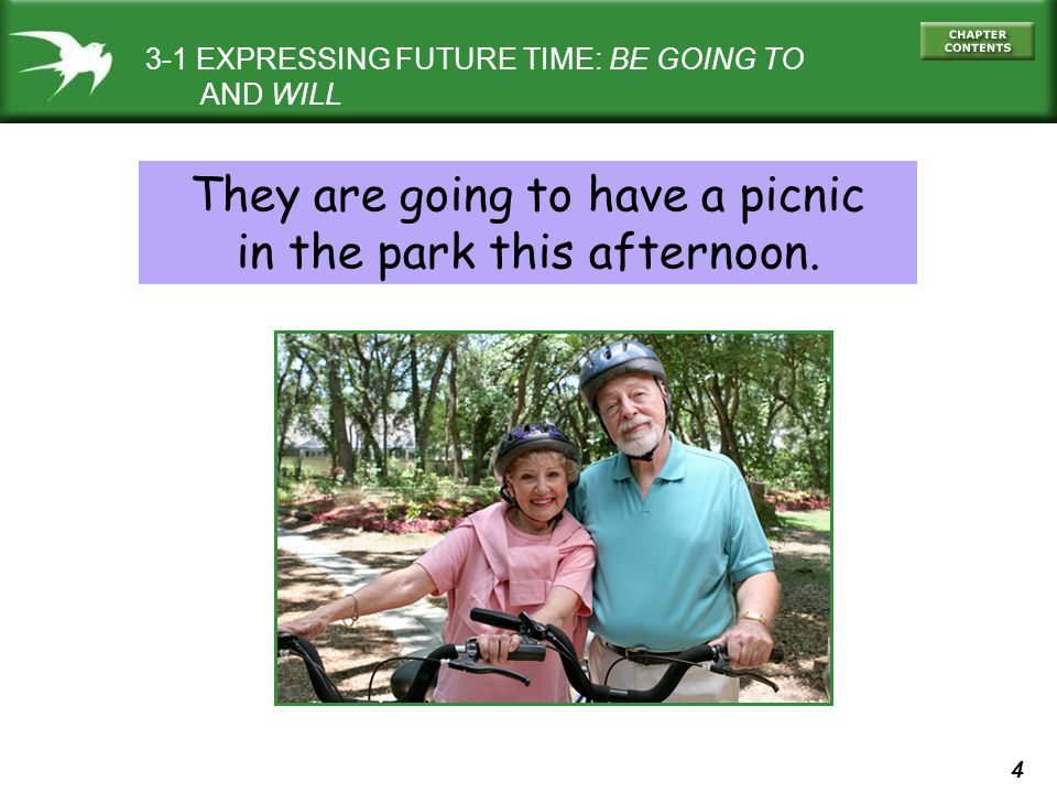 4 They are going to have a picnic in the park this afternoon. 3-1 EXPRESSING FUTURE TIME: BE GOING TO AND WILL